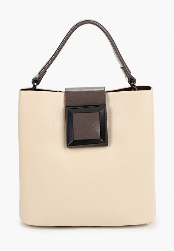женская сумка с ручками baggini, бежевая