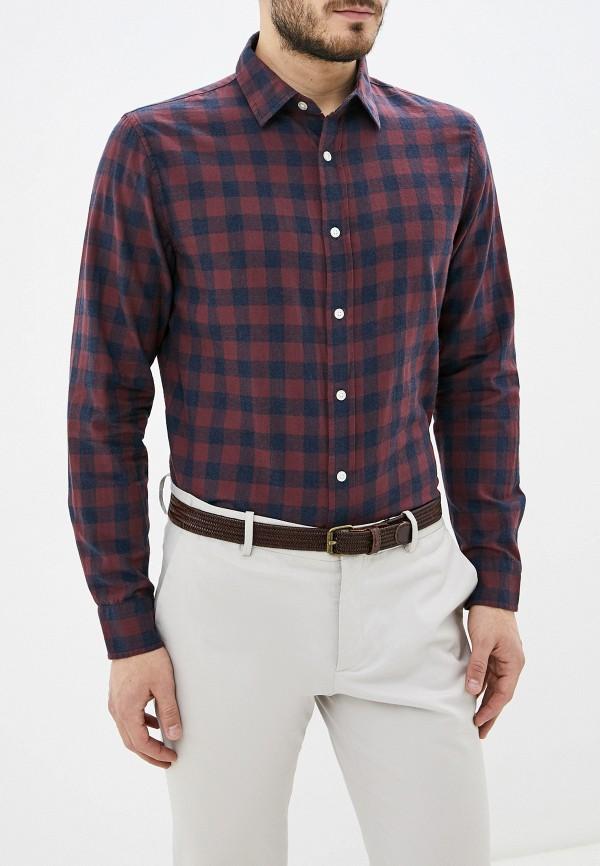 мужская рубашка с длинным рукавом banana republic, бордовая