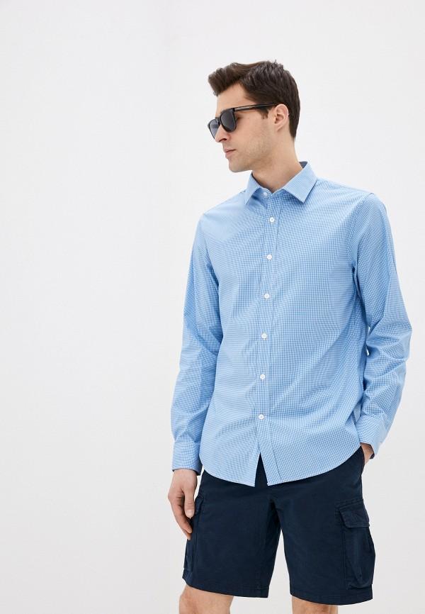 мужская рубашка с длинным рукавом banana republic, голубая