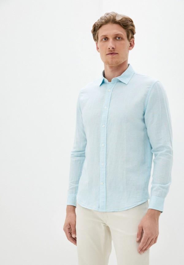 мужская рубашка с длинным рукавом banana republic, бирюзовая