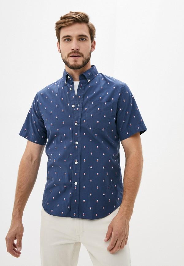 мужская рубашка с коротким рукавом banana republic, синяя