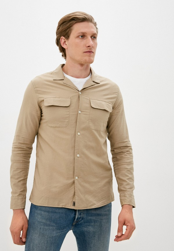 мужская рубашка с длинным рукавом banana republic, бежевая