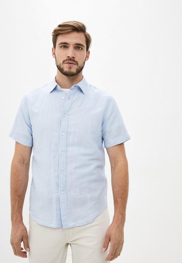 мужская рубашка с коротким рукавом banana republic, голубая