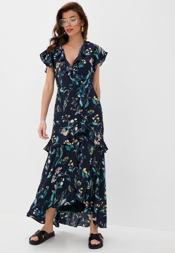 женское вечерние платье banana republic, синее