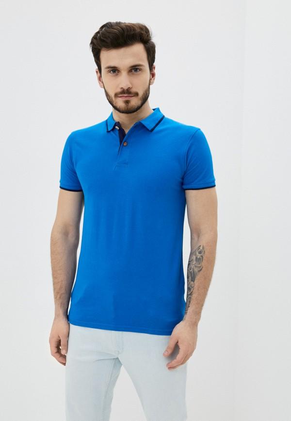мужское поло backlight, синее