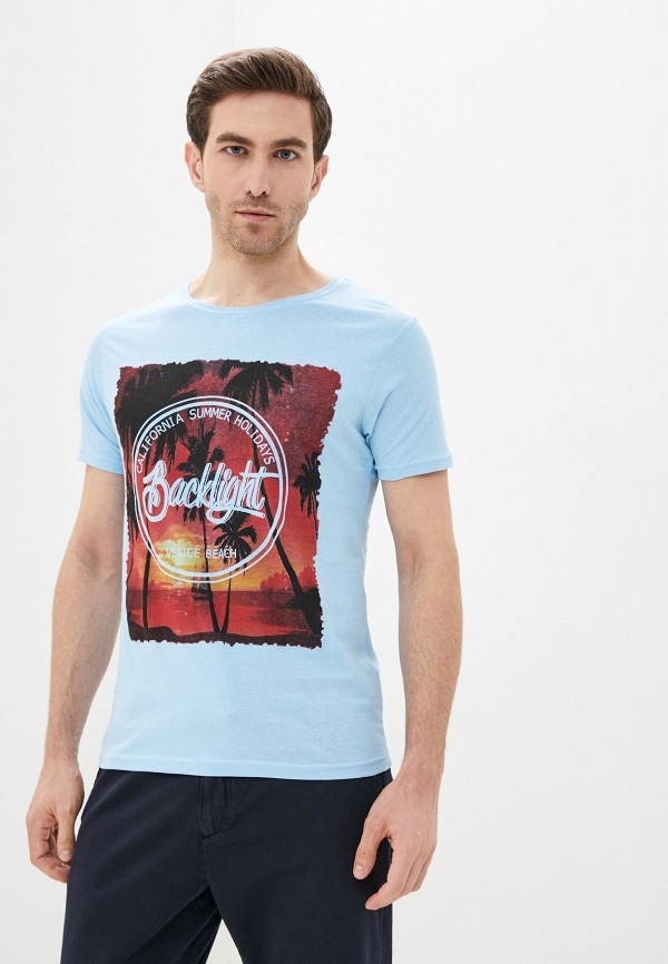 мужская футболка с коротким рукавом backlight, голубая
