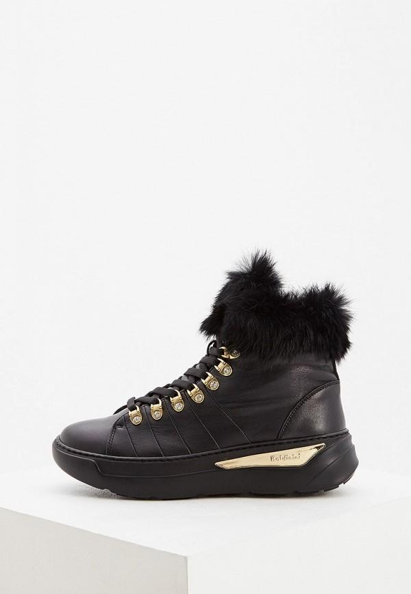 женские высокие кроссовки baldinini, черные