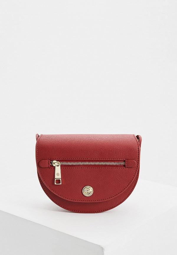 женская сумка через плечо baldinini, бордовая