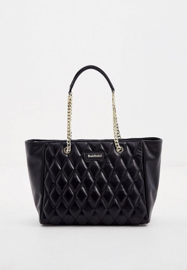 женская сумка с ручками baldinini, черная