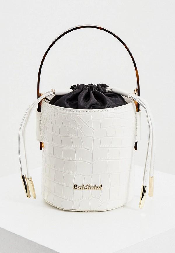 женская сумка-ведро baldinini, белая