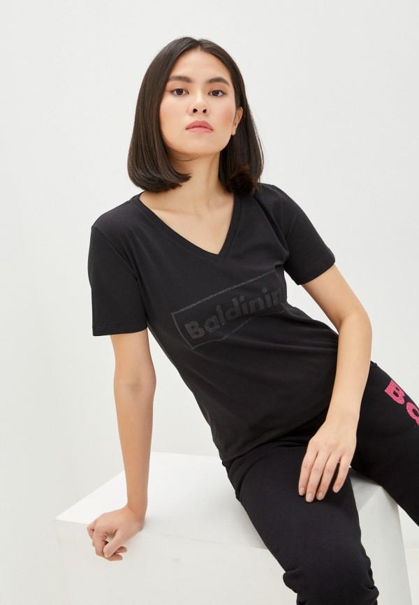 женская футболка baldinini, черная