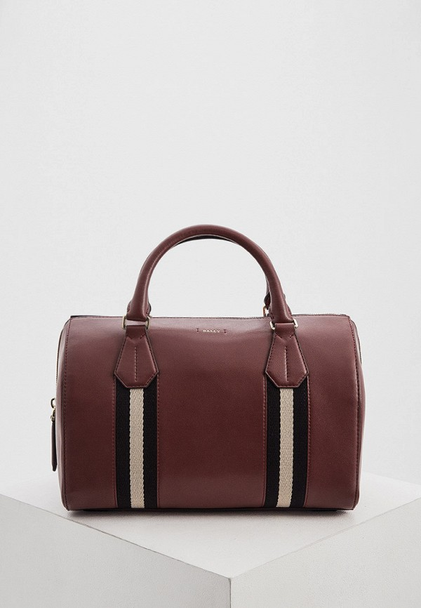 женская сумка с ручками bally, бордовая