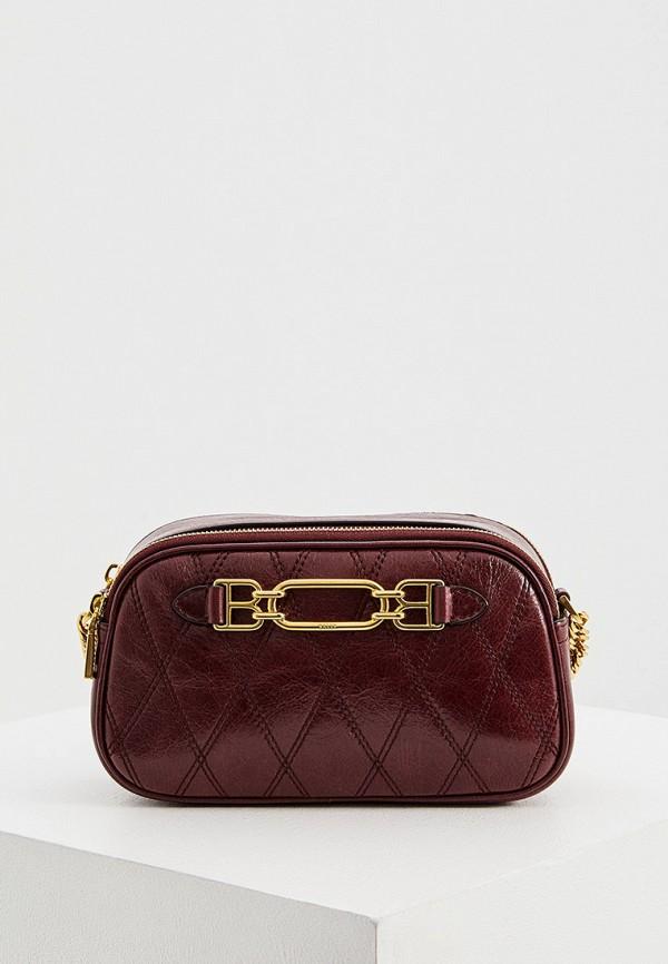 женская сумка bally, бордовая