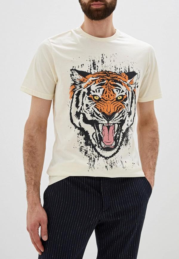 мужская футболка с коротким рукавом befree, бежевая