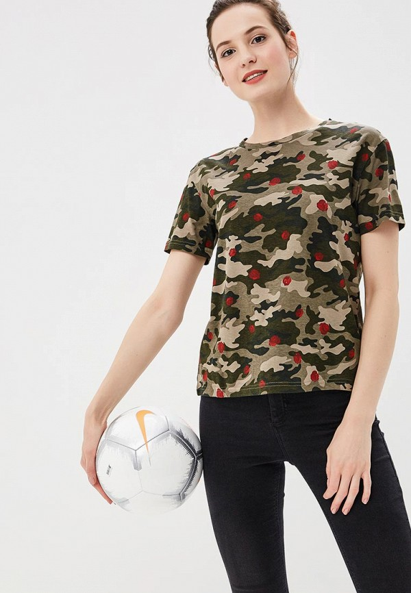 Купить Футболка Befree, BE031EWAZYX7, хаки, Весна-лето 2018