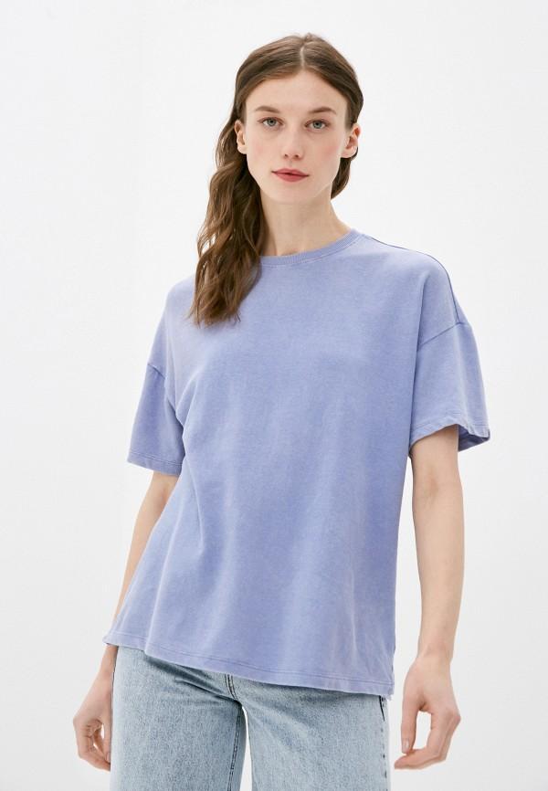 женская футболка befree, голубая