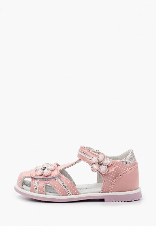 сандалии berten для девочки, розовые