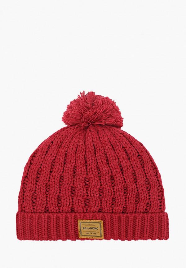 женская шапка billabong, бордовая