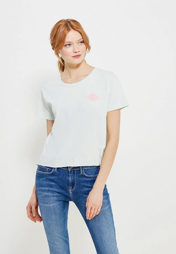 женская футболка billabong, бирюзовая