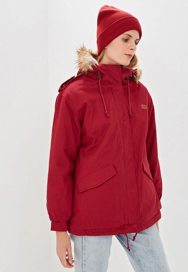 женская куртка billabong, бордовая