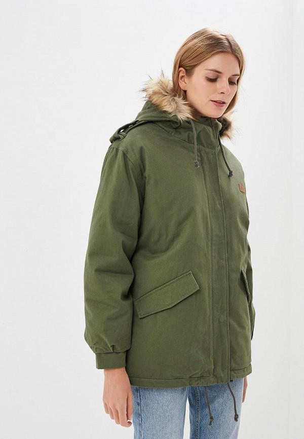 женская куртка billabong, зеленая