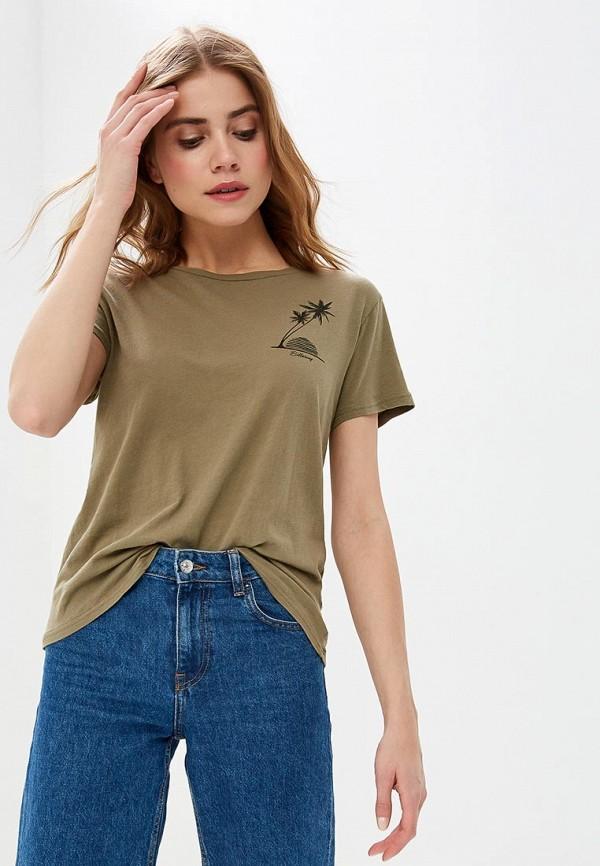 женская спортивные футболка billabong, хаки