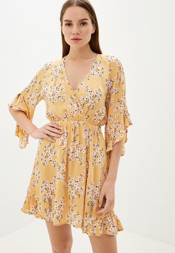 женское повседневные платье billabong, желтое