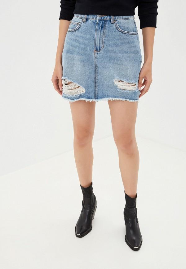 женская джинсовые юбка billabong, голубая