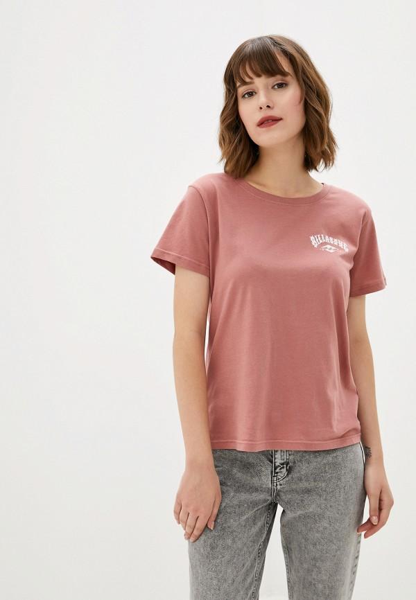 женская спортивные футболка billabong, розовая
