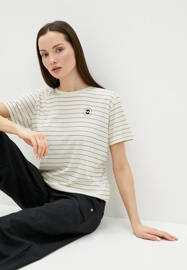 женская футболка billabong, бежевая