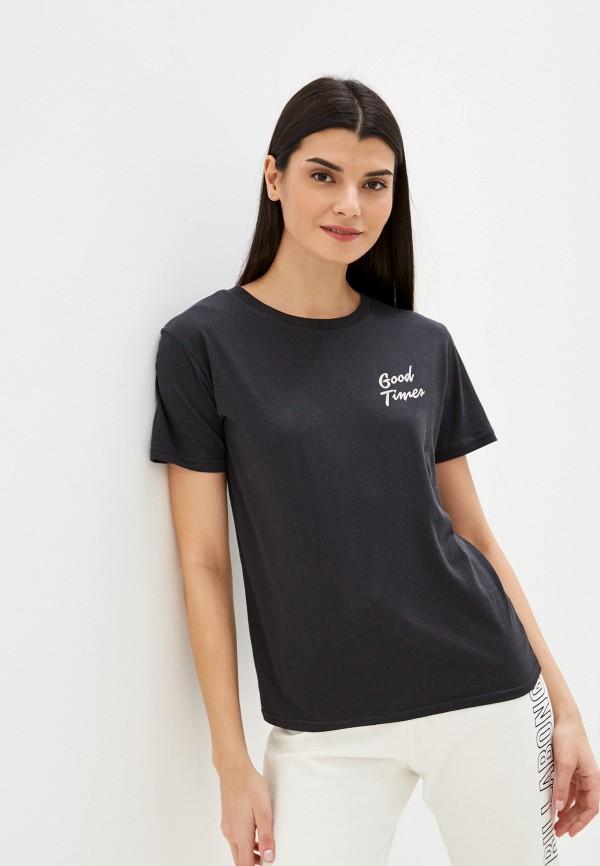 женская футболка billabong, черная