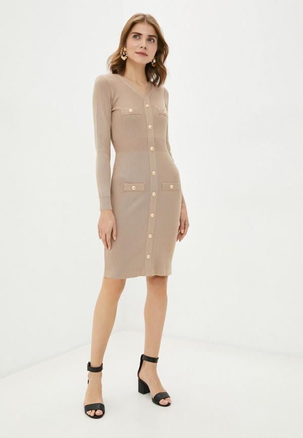 женское платье-футляр bigtora, коричневое