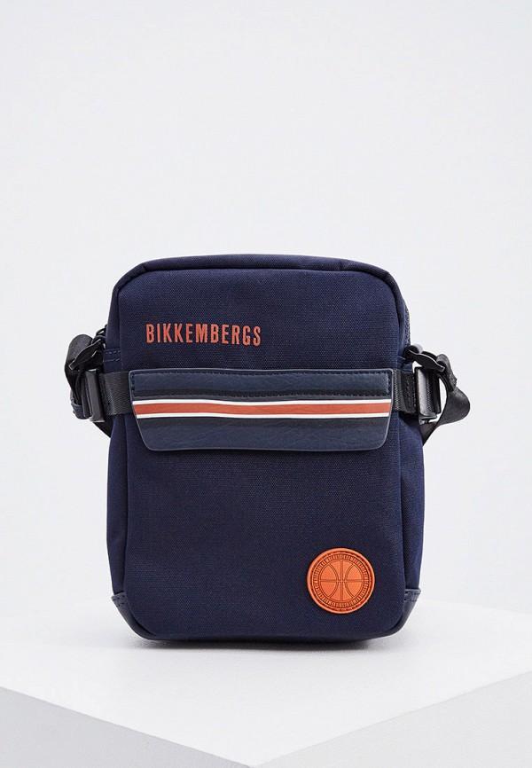 мужская сумка через плечо bikkembergs, синяя