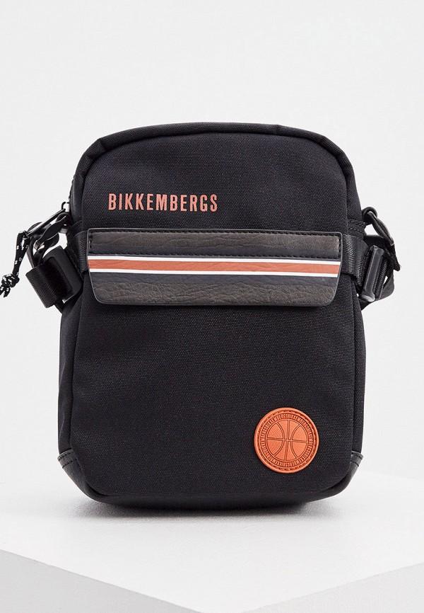 мужская сумка через плечо bikkembergs, черная