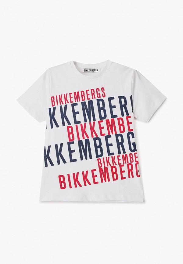 футболка с коротким рукавом bikkembergs для мальчика, белая