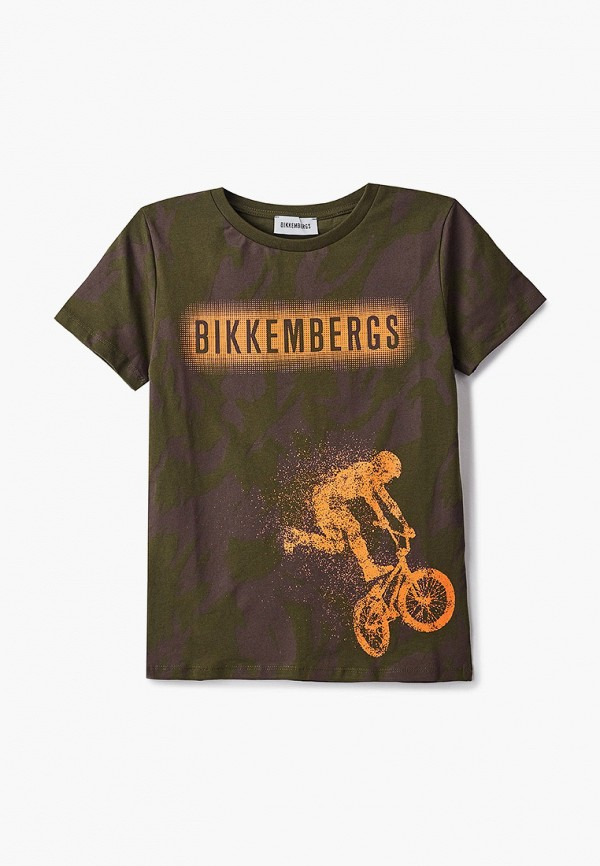 футболка с коротким рукавом bikkembergs для мальчика, хаки