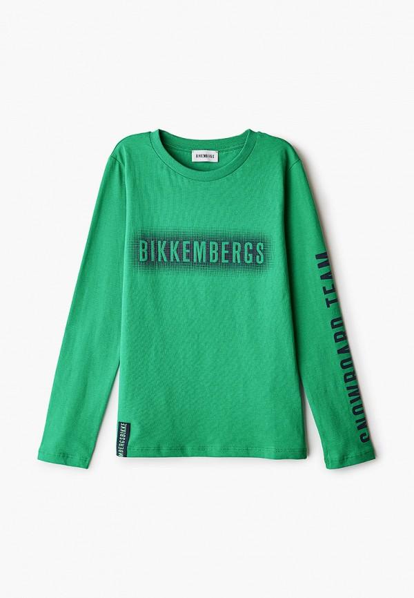 лонгслив bikkembergs для мальчика, зеленый