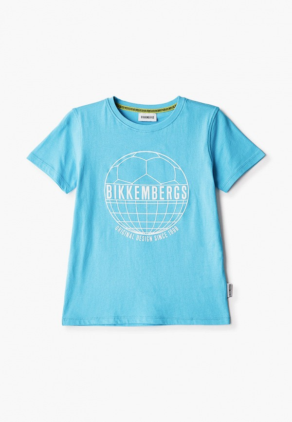 футболка с коротким рукавом bikkembergs для мальчика, голубая