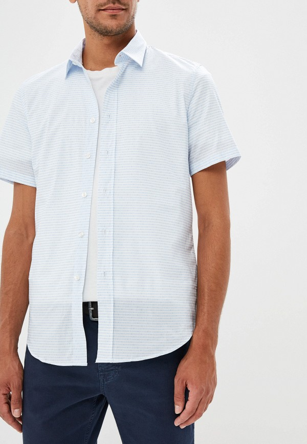мужская рубашка с коротким рукавом bikkembergs, голубая