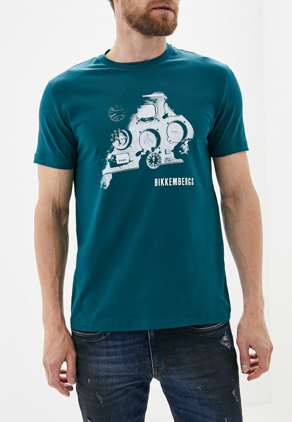 мужская футболка bikkembergs, зеленая