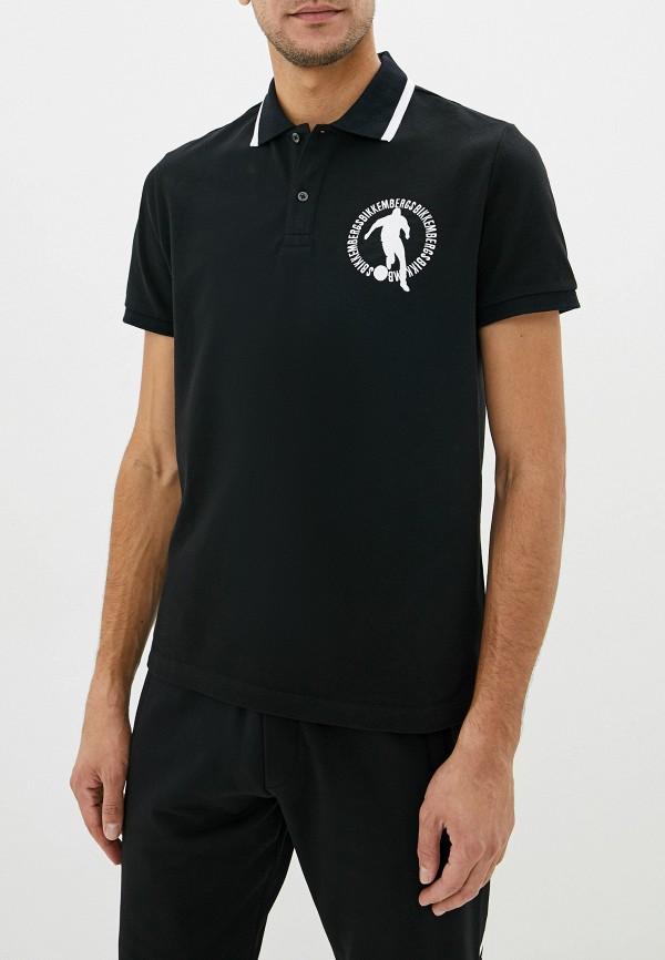 мужское поло с коротким рукавом bikkembergs, черное