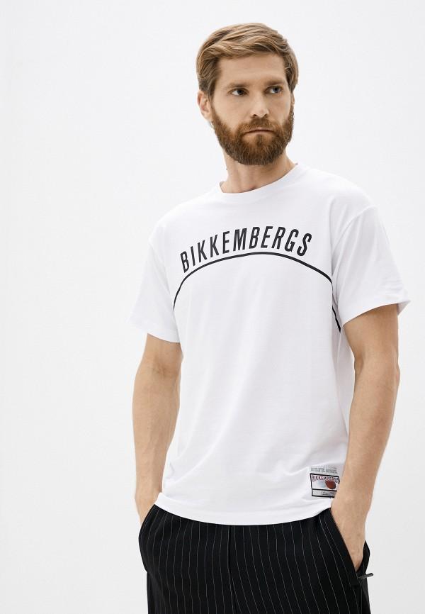 мужская футболка с коротким рукавом bikkembergs, белая