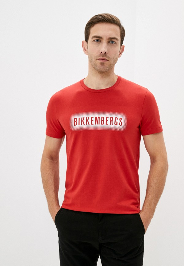 мужская футболка bikkembergs, красная
