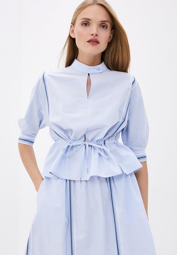 женская блузка bikkembergs, голубая