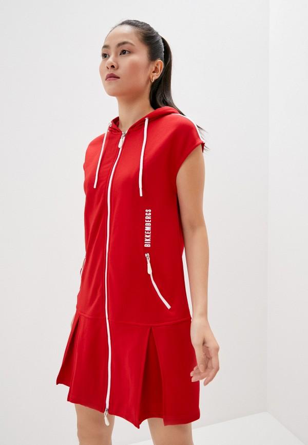 женское платье bikkembergs, красное