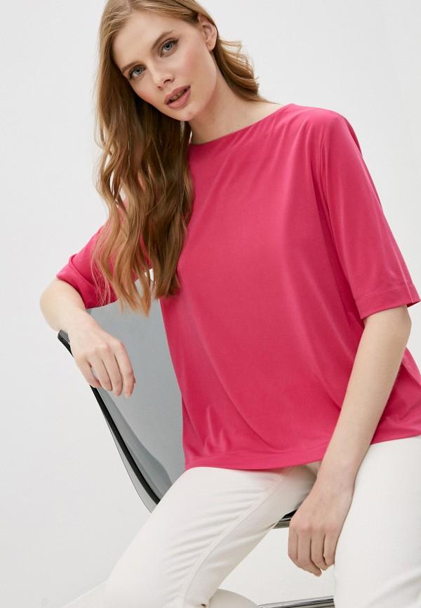 женская футболка bikkembergs, розовая