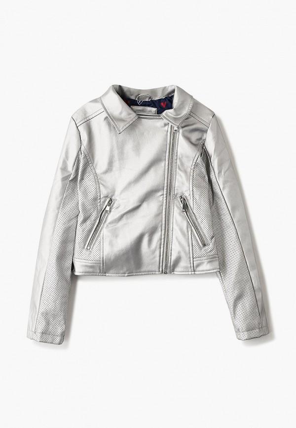 кожаные куртка blukids для девочки, серебряная