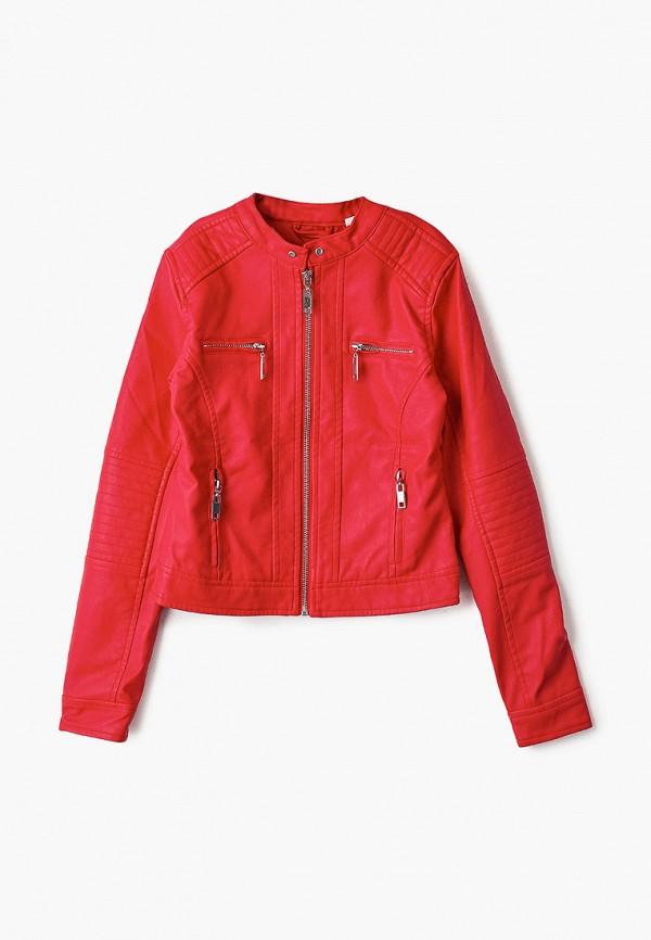 кожаные куртка blukids для девочки, красная