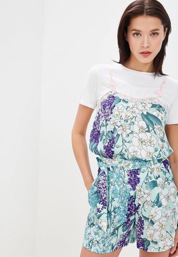 женская футболка blugirl folies, бирюзовая