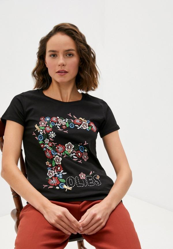 женская футболка blugirl folies, черная